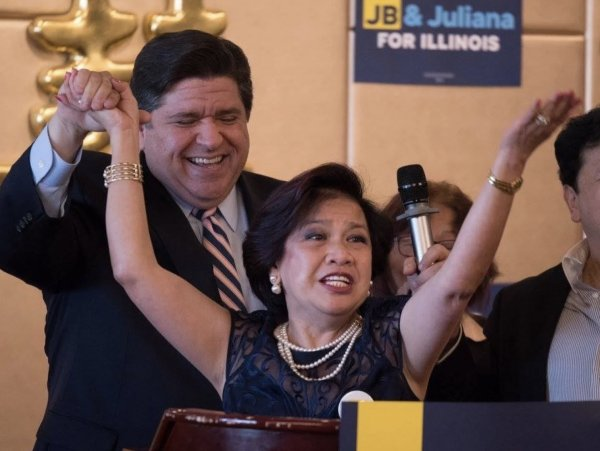 Cristina Nonato, Philipine American Activists, candidate for Metropolitan Water Reclamation District (MWRD) in the March 15, 2022 Democratic Primary election with Illinois Gov. J.B. Pritzker