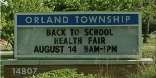 Orland Township Supervisor and the Township board are hosting a Back-to-School Healthfair Aug. 14, 2021 from 9 am until 1 PM