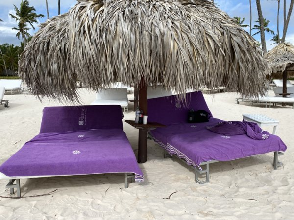 Our beach chairs every morning at the Grand Reserve Paradisus Palma Real in Punta Cana. Photo courtesy of Ray Hanania