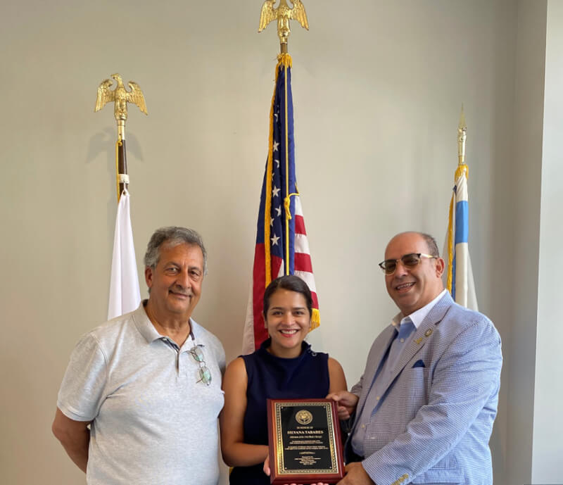 Columnist Ray Hanania poses with Alderwoman Silvana Tabares and Arab American Chamber of COmmerce of Chicago President Hassan Nijem. Sept. 7, 2021. Photo courtesy of Hassan Nijem