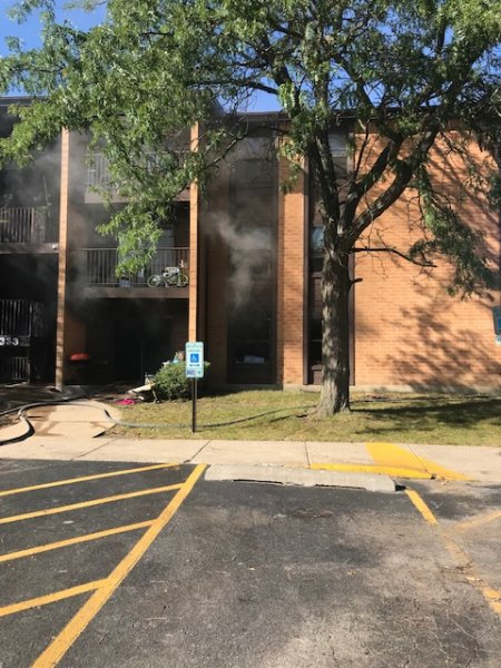 Fire at Orland Park apartment building at 9300 Block of Hunter Drive Thursday Sept. 23, 2021. Photo courtesy of the Orland Fire Protection District