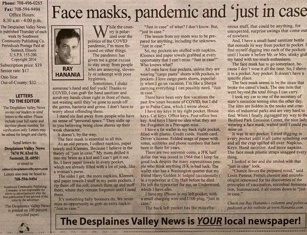 Hanania column Sept. 7, 2021 on the upside and downside of wearing face masks for seniors.