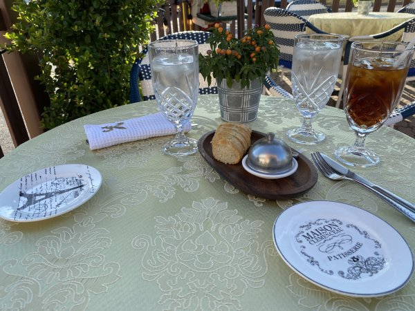 Table setting at Patio at La Crepe Bistro in Homer Glen, 13957 S Bell Rd, Homer Glen, IL 60491-8503, +1 708-966-4866