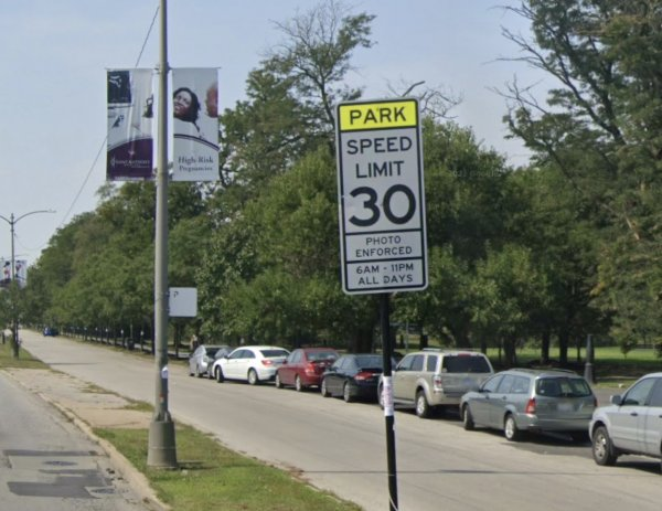 Douglass Park is a hug street gangbanger hangout but all Chicago Mayor Lori Lightfoot can do is snag motorists taxpayers going 6 miles over the posted speed limit. It's about her money not your safety. Photo courtesy of Ray Hanania