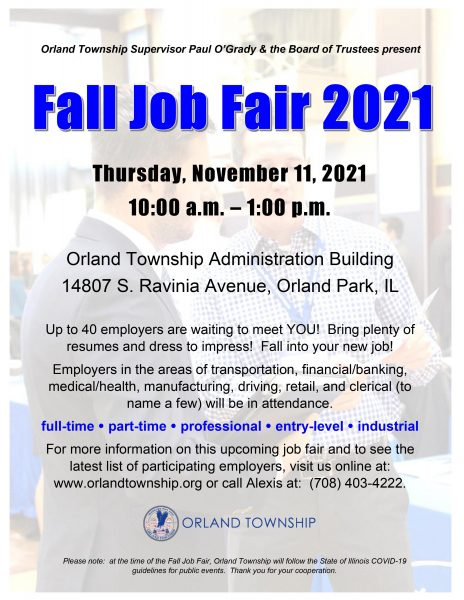 Nov. 11, 2021 Orland Township Job Fair Flyer from Supervisor Paul O'Grady