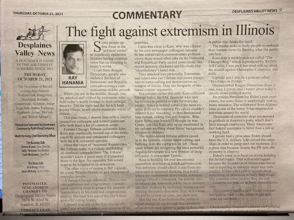 Ray Hanania column on fighting extremism and media bias, focusing on Bill Lipinski and John Kass