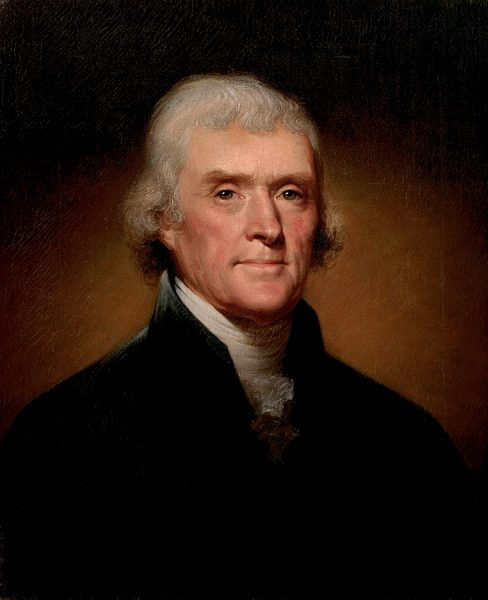 Official Presidential Portrait of Thomas Jefferson by Rembrandt Peale 1800. Photo courtesy of Wikipedia