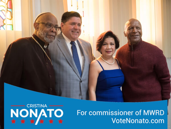 Cristina Nonato, the only Filipina candidate for public office, with leaders including Gov, J.B. Pritzker and Secretary of State Jesse White