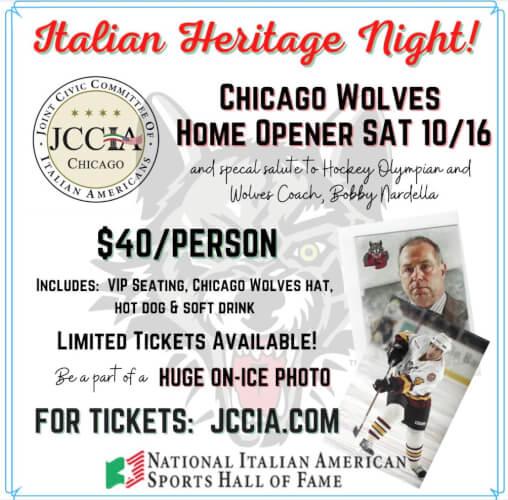 Chicago Wolves showcase Italian Heritage night on Saturday Oct. 16, 2021
